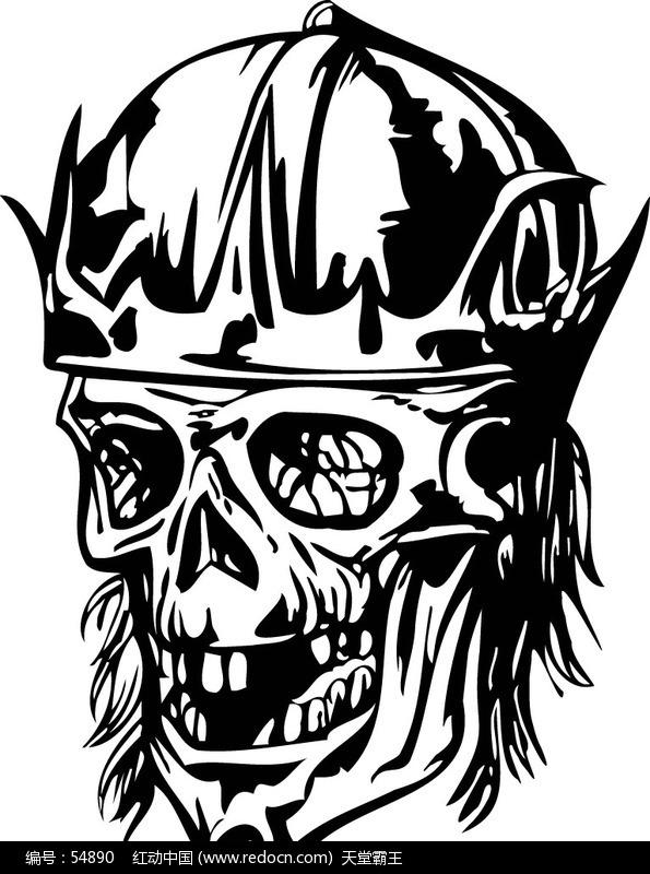 骷髅头黑白画手绘